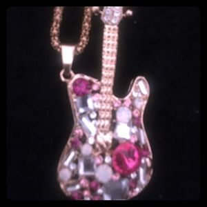 Betsey Johnson Guitar Crystals w/ long chain